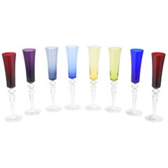 Set of Eight Baccarat Crystal Champagne Flutes