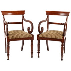 Pair of Antique English Regency Mahogany Armchairs