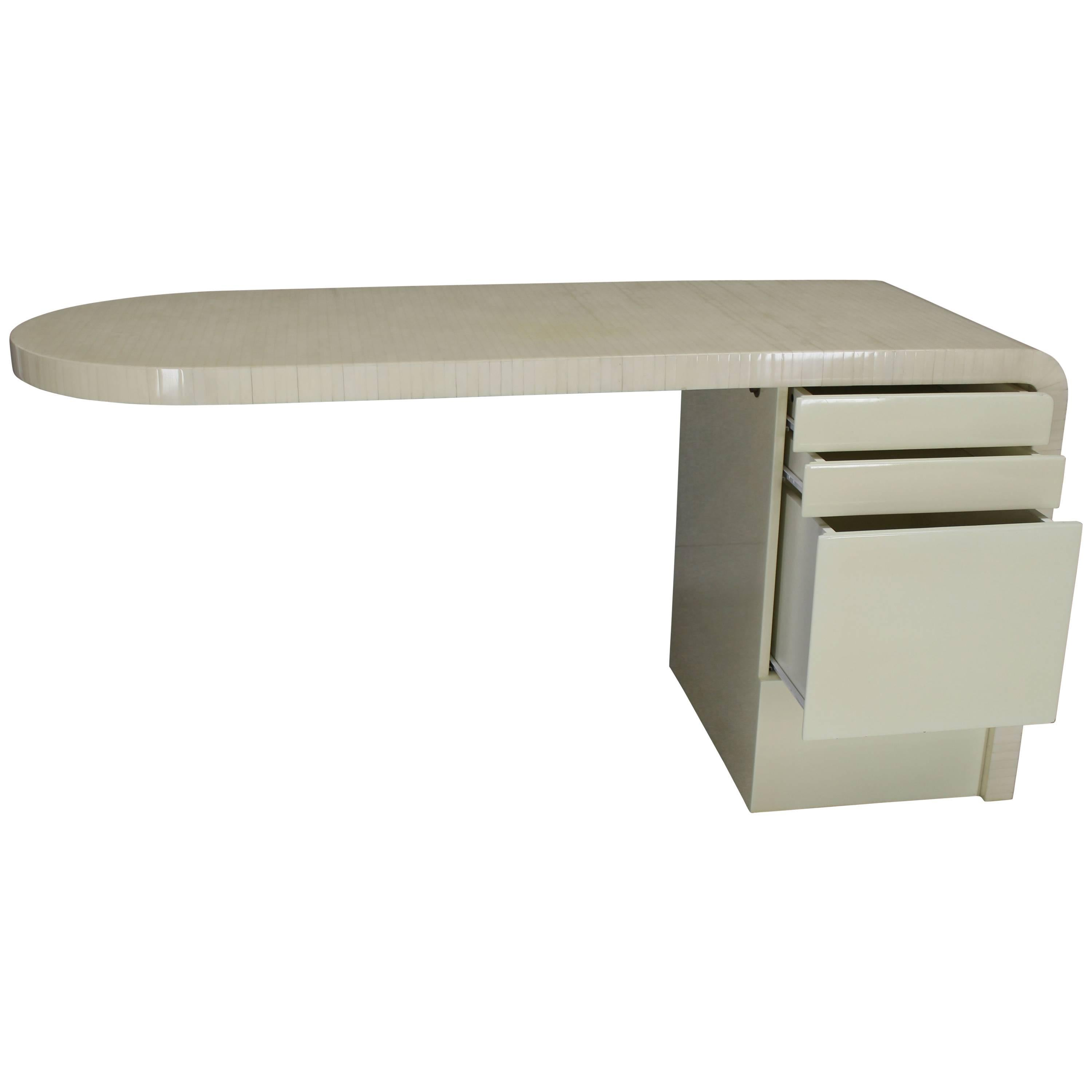 cantilever lacquered white bone tile file drawer desk writing table