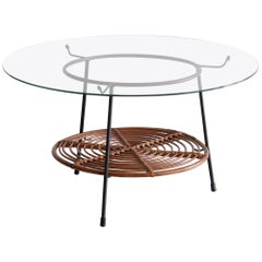 Italian Wicker and Iron Table with Glass Top by Raymor