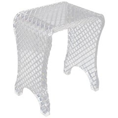 Diamond Cut Bent Lucite Piano Bench Stool