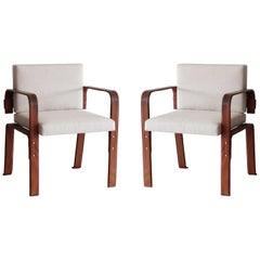 Pair of Leather Wrapped Chairs by Jacques Adnet