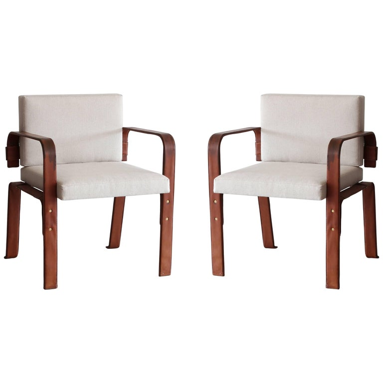 Pair of Leather Wrapped Chairs by Jacques Adnet 1