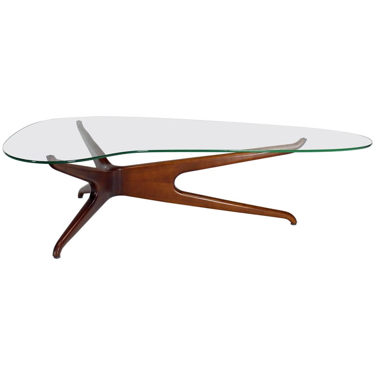 Vladimir Kagan Carved Walnut Trisymmetric Glass Top Coffee Table For Sale At 1stdibs