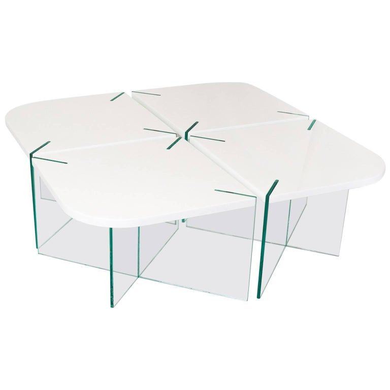 Radius Table, Contemporary Marble and Glass Coffee Table 1