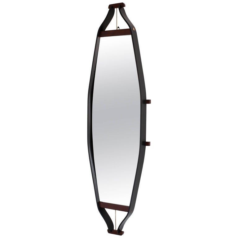 Wood Wrapped Italian Floating Mirror For Sale