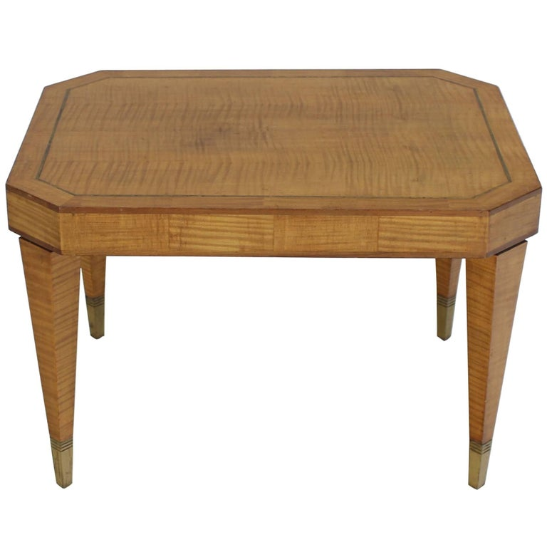 Tommy Parzinger Occasional Rectangular Side Table Brass and Satinwood