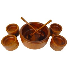 Mid Century Teak Bowl or Salad Set by Nissen Denmark 11 Pieces Service for 8