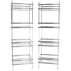Pair of Deep Profile Chrome and Lucite Étagères Shelves