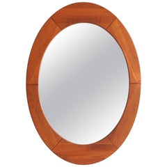 Danish Teak Oval Mirror