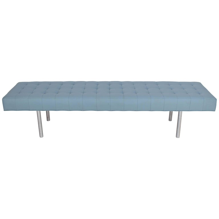 Tufted Light Blue Upholstery Chrome Cylinder Legs Long Bench Almost Daybed