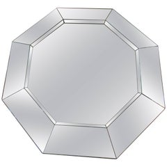 Gorgeous Karl Springer Style Octagon Faceted Mirror, Midcentury