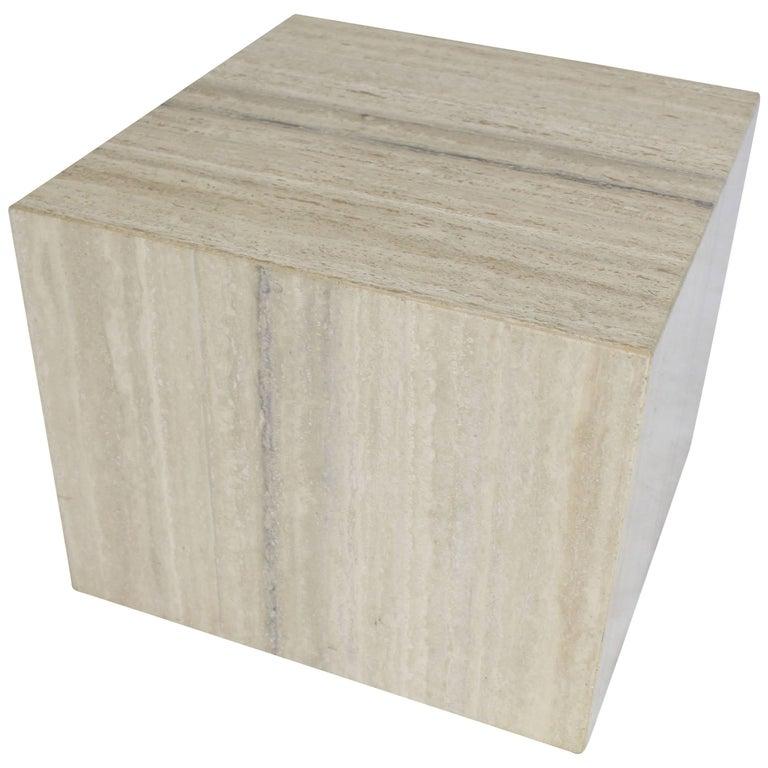 Travertine Cube on Wheels Coffee Side Table Pedestal