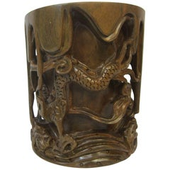 20th Century Chinese Carved Rosewood Brushpot