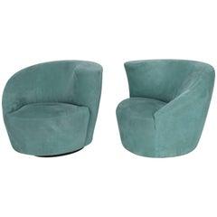 Pair of Swivel Lounge Chairs Vladimir Kagan for Directional Barrel Back
