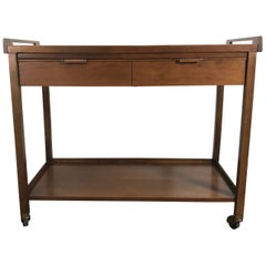 Classic Mid-Century Modern Walnut Expandable Rolling Bar Cart, Server