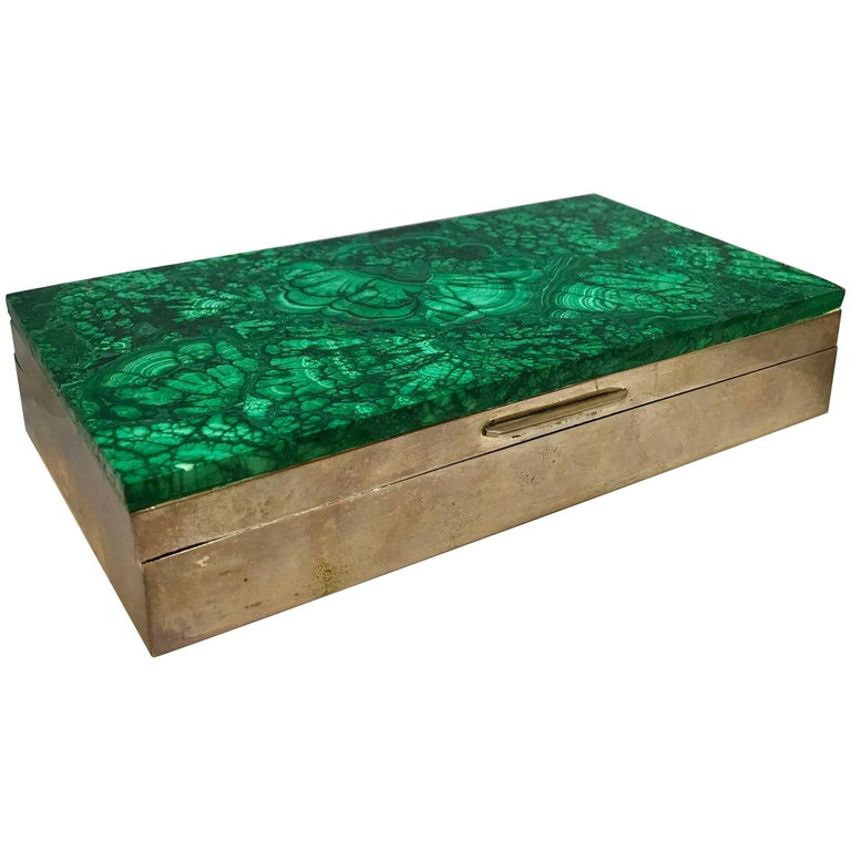 Malachite and Silver Jewelry Dresser Box, Italy, 1960s For Sale