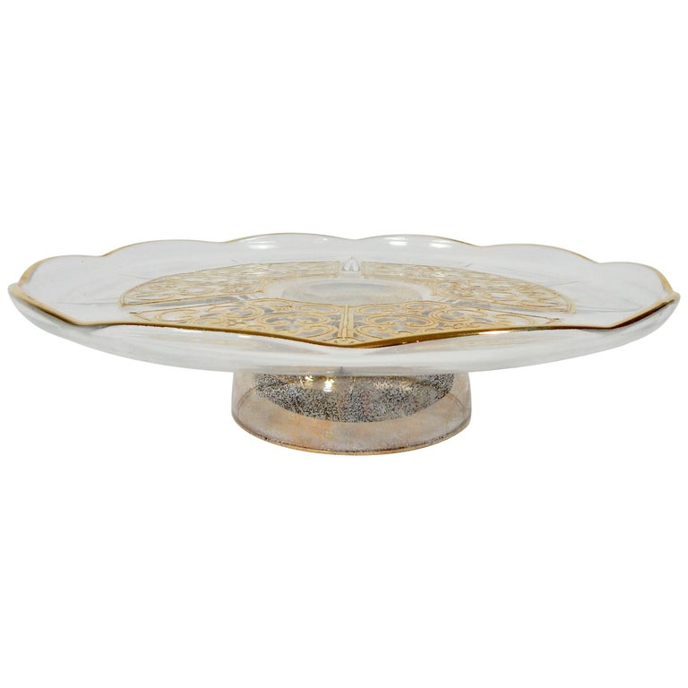 Georges Briard Signed Gold Cake Stand At 1stdibs