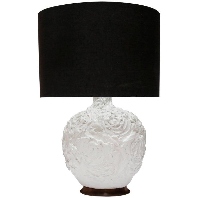 Large Raw Molded Plaster Organic Lamp