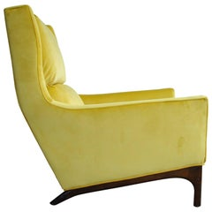 Vintage, 1960s Yellow Citrine Italian Wingback Upholstered Lounge Chair