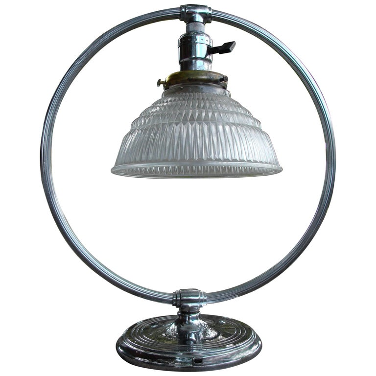 Art Deco Machine Age Chrome and Glass Circular Table Lamp by Chase