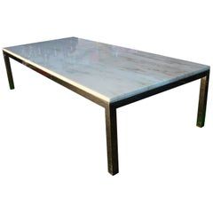 Marble and Chrome Rectangular Coffee Table After Florence Knoll