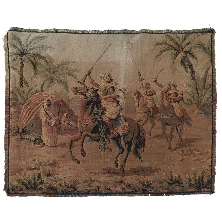 Orientalist Tapestry with Arabs on Horse Hunting Scene in Aubusson Style