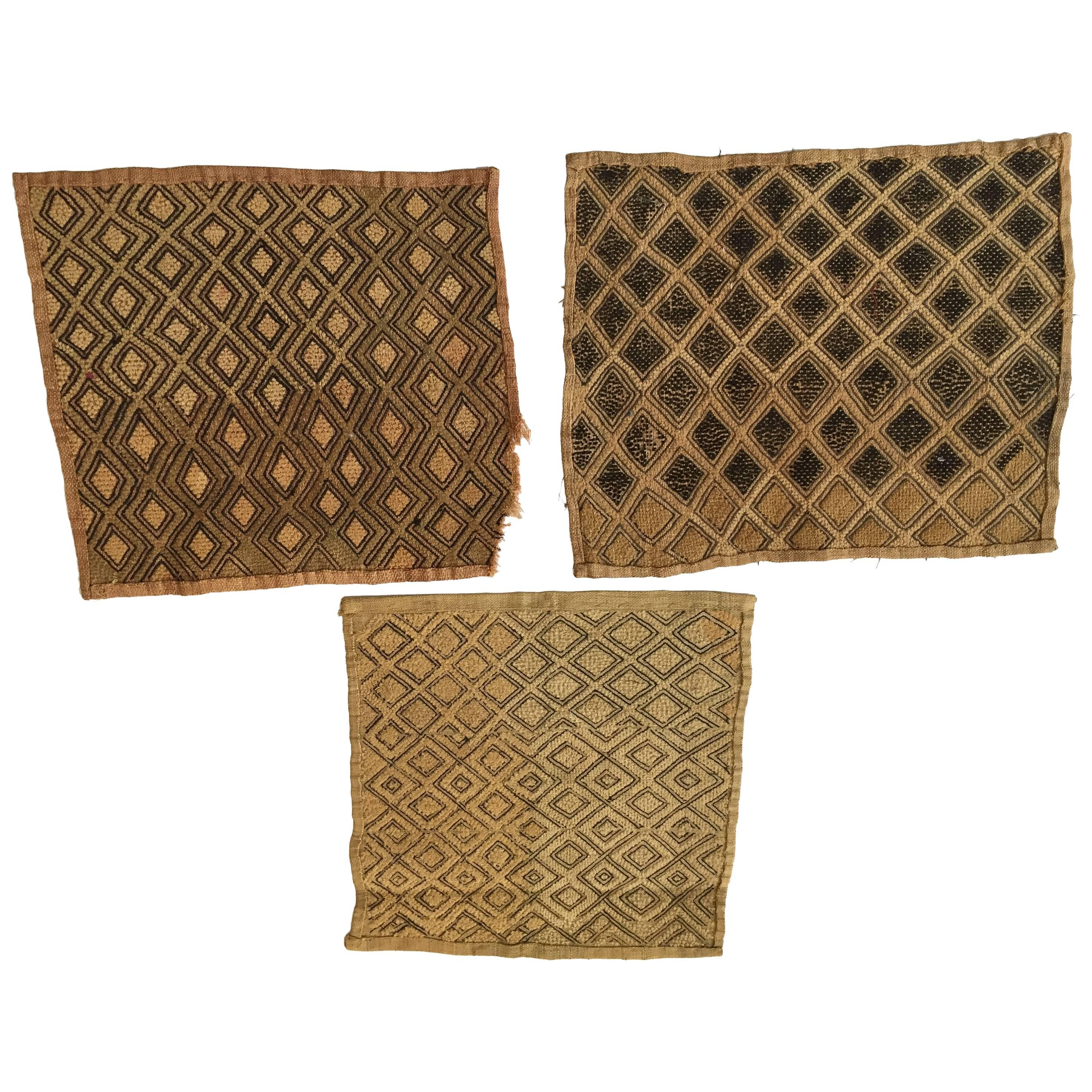 Handwoven Raffia Kuba Textiles from Congo Africa, Set of Three