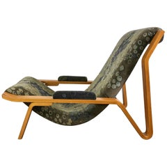 Rare Harvey Probber Bentwood Sling Chair, circa 1948, Larsen Fabric
