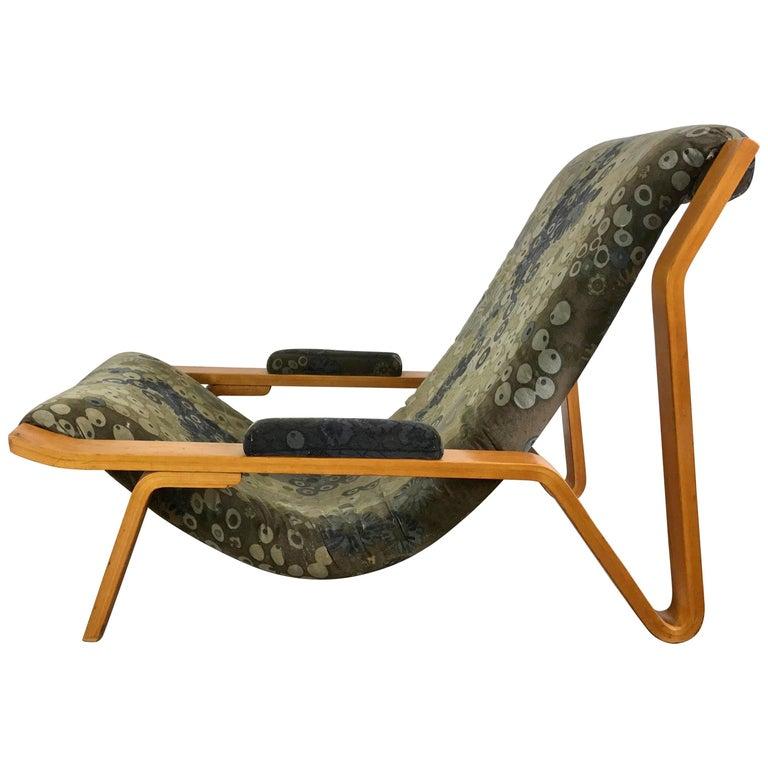 Rare Harvey Probber Bentwood Sling Chair, circa 1948, Larsen Fabric
