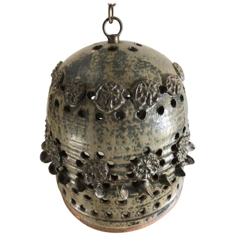 Unusual Studio Pottery Ceramic Hanging Pendant Lamp, Brutalist