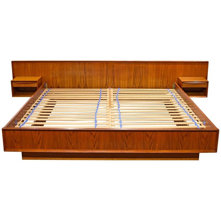 Danish Teak King Platform Bed With Floating Nightstands By