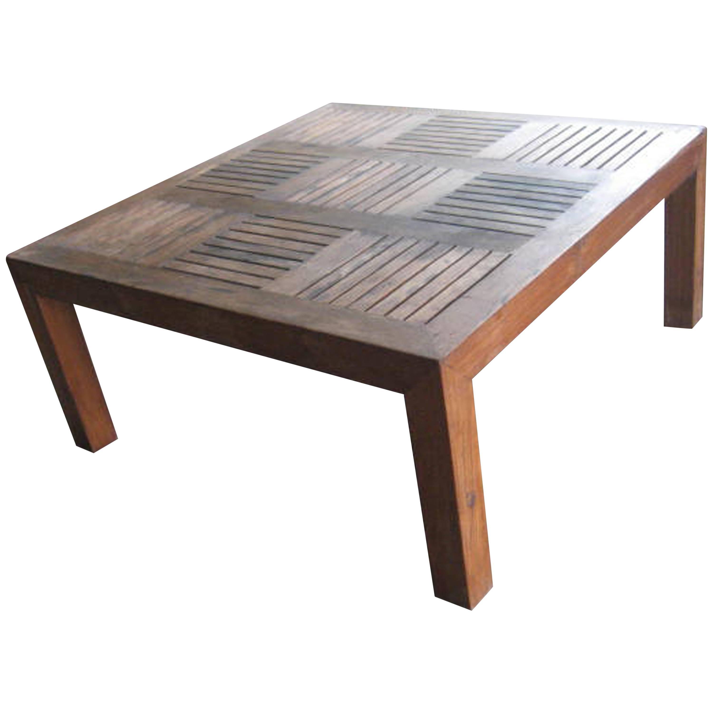Andrianna Shamaris Slatted Teak Wood Coffee Table