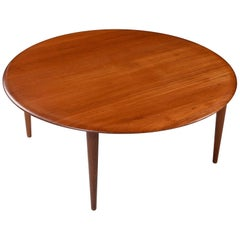 Peter Hvidt for France & Son Danish Solid Teak Round Coffee Table, 1950s