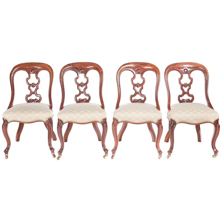 Set of Four Quality Mahogany Dining Chairs