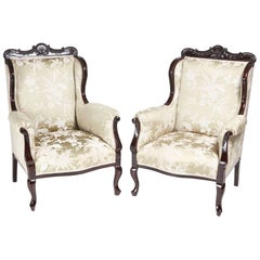 Pair of Carved Mahogany Library Chairs