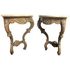 Early 20th Century Rococo French Hand-Carved Pair of Corner Consoles with Drawer