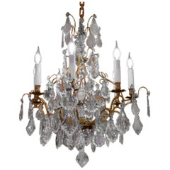 French Louis XV Style, Bronze and Crystal Small Chandelier, circa 1900