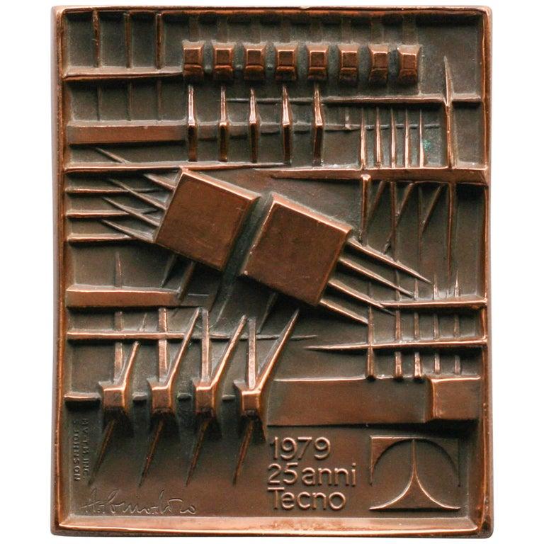 Bronze Plaque by Arnaldo Pomodoro for Tecno Milan, 1979