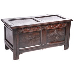 17th Century Carved Oak Panelled Coffer