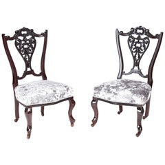 Pair of Victorian Carved Mahogany Ladies Chairs