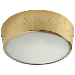Pair of Large Brass-Plated Pierced Flush Mount, 1950s, USA