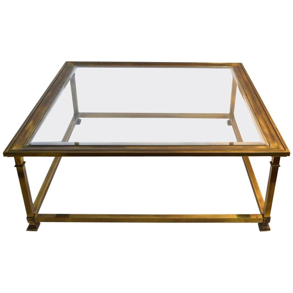 Square Brass And Glass Mastercraft Coffee Table