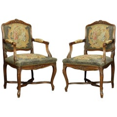 Pair of Regence-Style Fruitwood Fauteuils