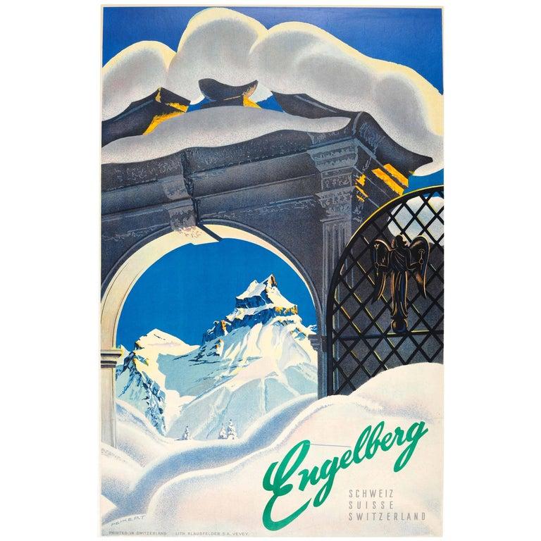 Original Vintage Winter Ski Resort Poster by Peikert for Engelberg Switzerland
