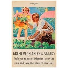 Original Vintage WWII Ministry of Food Health Poster - Green Vegetables & Salads