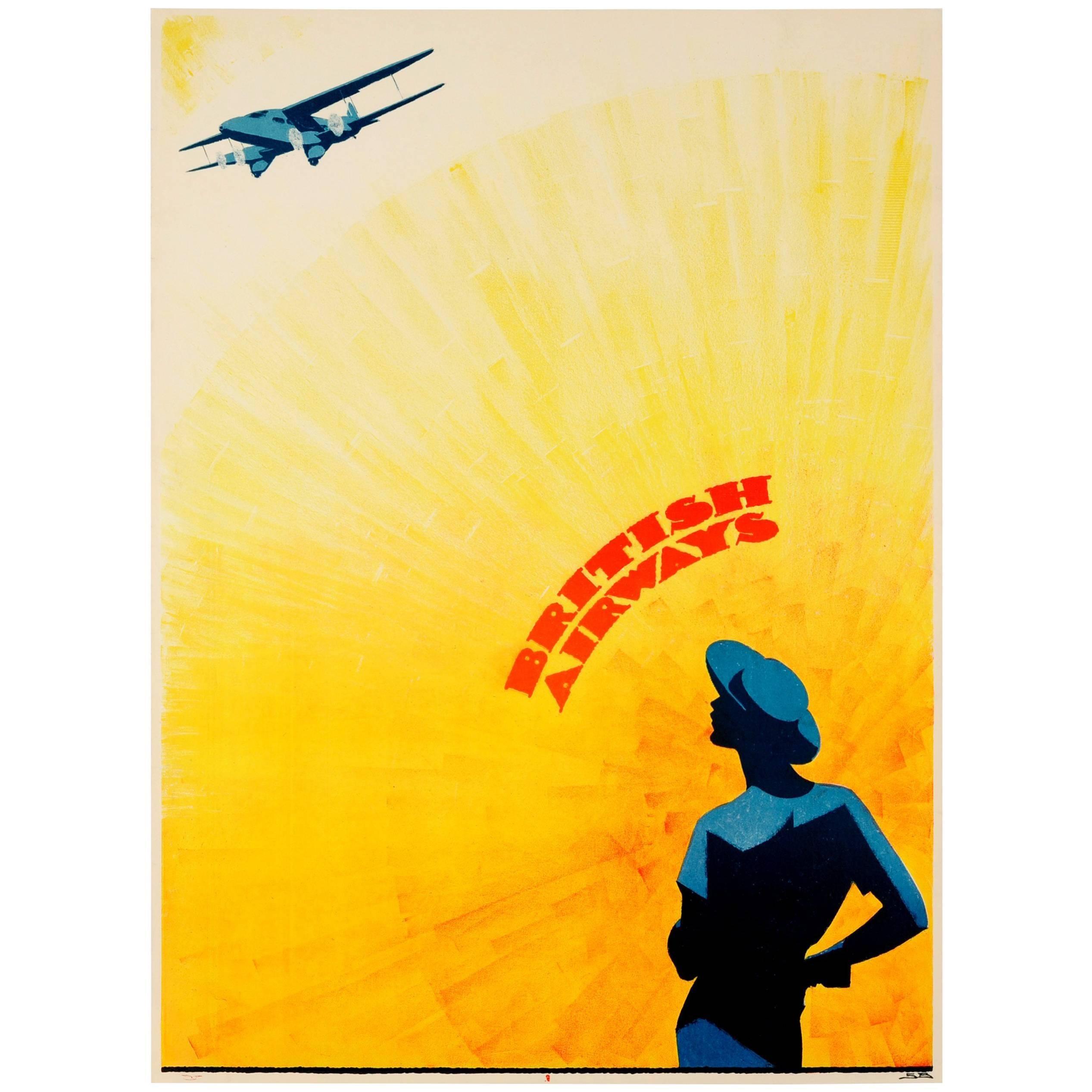 Original vintage art deco design golden age of travel poster for british airways at 1stdibs