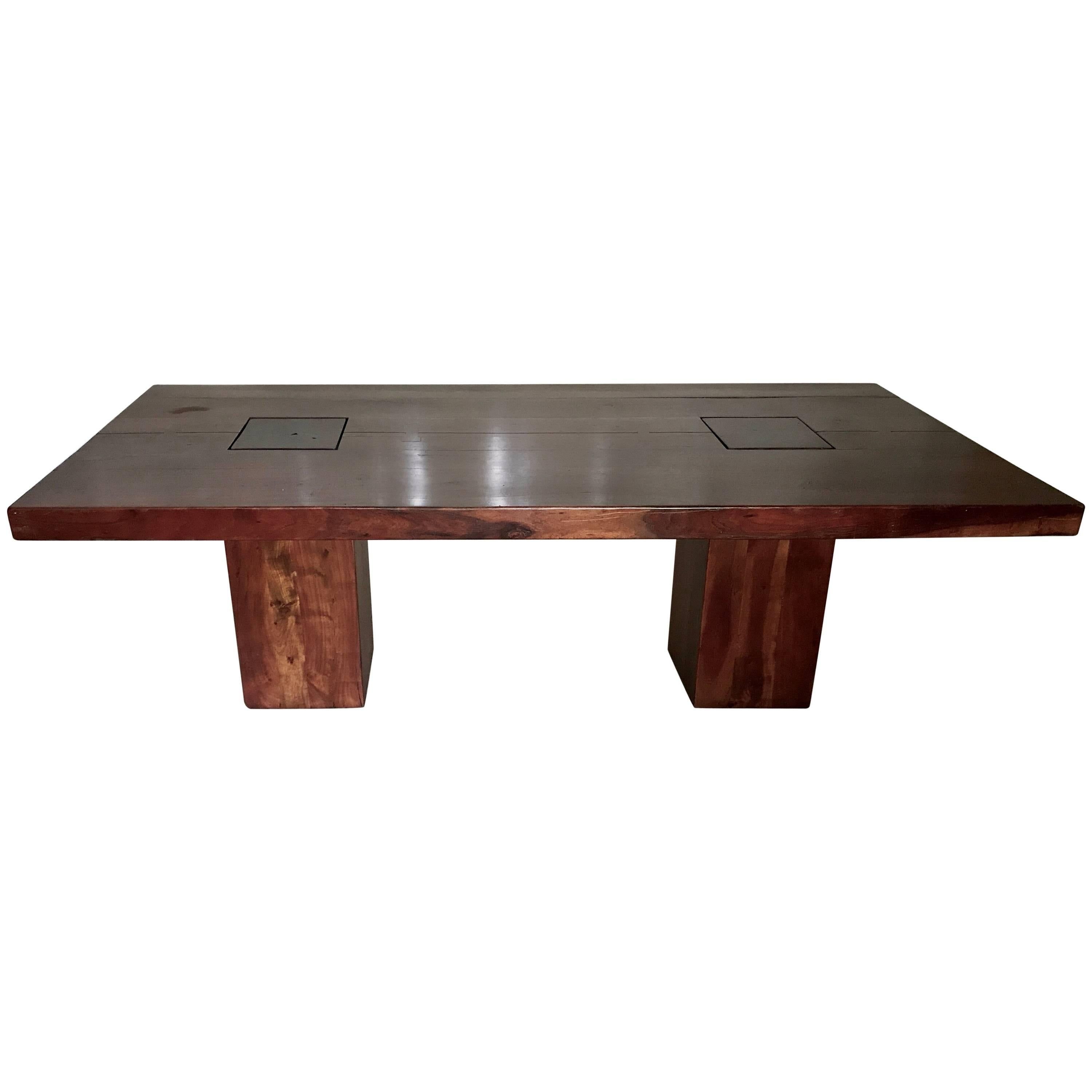Organic Vintage Live Wood Huge Walnut Dining Table  Hand Crafted