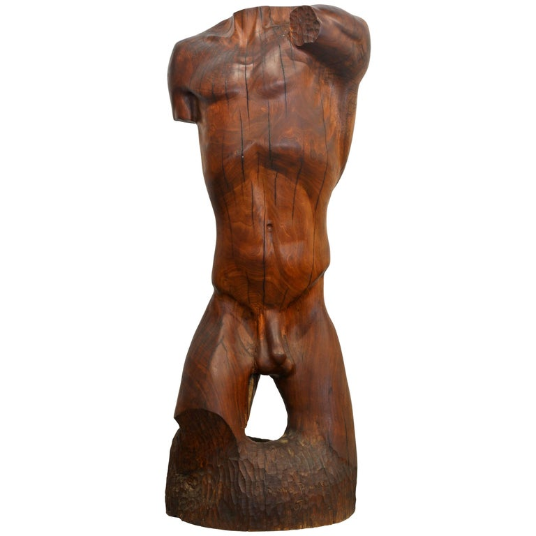 Expressive Lifesize Hardwood Statue of Male Nude by Dennis Penessa For Sale