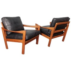 Illum Wikkelsø, Pair of Teak and Leather Danish 1960s Midcentury Lounge Chairs